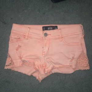 Hollister size 0 coral jean shorts